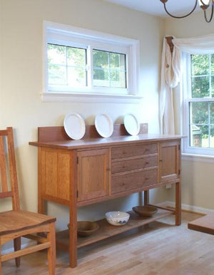 Custom Craftsman Huntboard with Back Splash in Natural Cherry solid wooden furniture Made in the USA by Hardwood Artisans