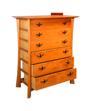 Custom Bedroom Furniture featuring Custom Waterfall Chest in Natural Lacquered Mahogany and Ash dresser by Hardwood Artisans