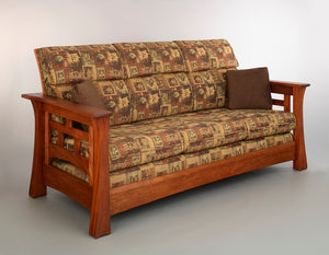 Mackintosh Tall-Back Sofa is a custom-crafted, hand-finished, solid hardwood living room furniture w/ Amish joinery in Tysons