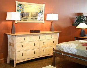 Waterfall Grand Mesa in Curly Maple shows a solid bedroom furniture dresser handmade by Hardwood Artisans near Gathersburg MD