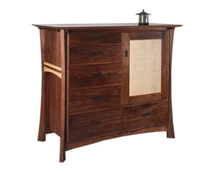 Custom Waterfall Shogun Chest in Walnut with Curly Maple Accents showing bedroom closet item handmade by Hardwood Artisans