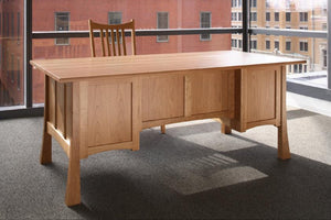 Glasgow Professional Desk w/ back detail shown elegant office furniture custom made in assorted hardwoods from North America