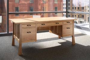 Glasgow Professional Desk in Natural Cherry, has center keyboard tray or pencil drawer, 1 drawer & 1 file drawer on ea. side