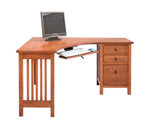 Little Corner Desk with File Cabinet on Right in 1/4-sawn white Oak with English Stain