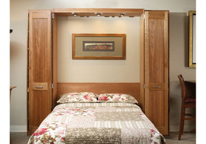 Easy to open handmade Cherry Dane Wall Bed bedroom furniture with bi-fold panel doors & reading lights near Loudoun County