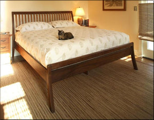 Artisan Sleigh Bed with Curved Legs in Walnut with Cherry Slats