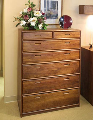 Contemporary 7-Drawer Chest Dresser in Walnut is a stylish bedroom furniture suite made to order by Hardwood Artisans in VA