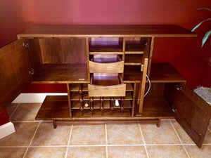 Mid Century Wine Cabinet features a modern entertainment furniture in assorted solid hardwoods and finishes Made in America