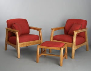 Linnaea Chairs and Ottoman in Natural Cherry