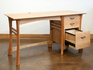 Waterfall Desk is designed & handcrafted w/ Amish joinery techniques & hand-finished business/home office furniture in VA