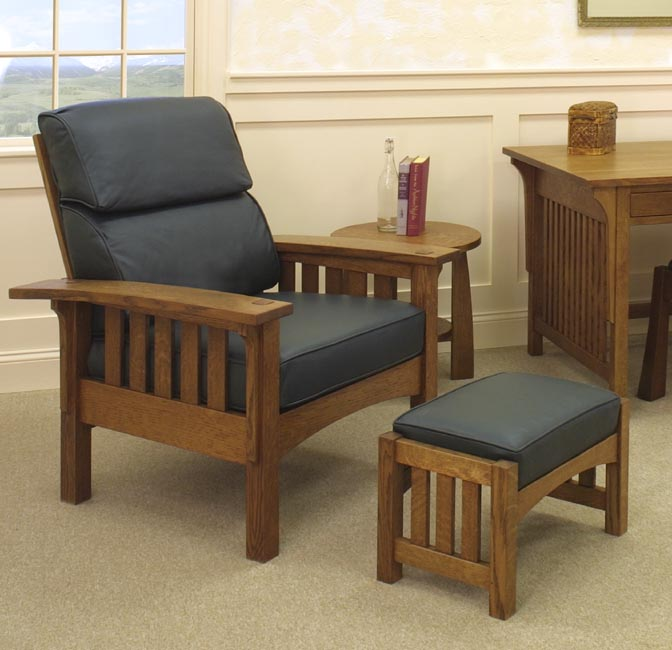... Morris Chair And Ottoman With Bungalow End Table And Craftsman Desk In  1/4