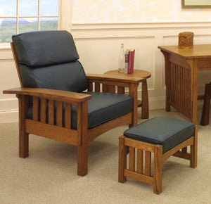 Morris Chair and Ottoman with Bungalow End Table and Craftsman Desk in 1/4-Sawn White Oak with English Oak Finish