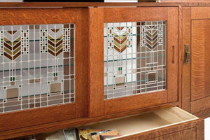 Custom Artisan Entertainment Library in 1/4-Sawn White Oak with English Oak stain and custom art glass
