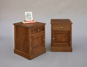 Shaker Parmet Nightstand with Door in Walnut and Standard Knobs cabinet style bedroom furniture by Hardwood Artisans Herndon