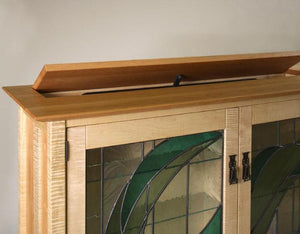 Glasgow TV Lift showing detail of top in mahogany, walnut, birch, maple, cherry, curly maple, red or 1/4-sawn white oak wood