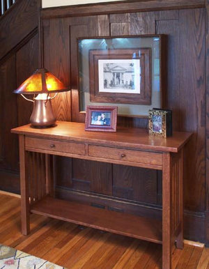 Custom Crofters Hall Table with Optional Shelf in 1/4-sawn White Oak with English Oak Stain