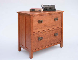Craftsman Lateral File Cabinet w/ 2 drawers, Solid Office Furniture for document storage in various hardwoods & finishes