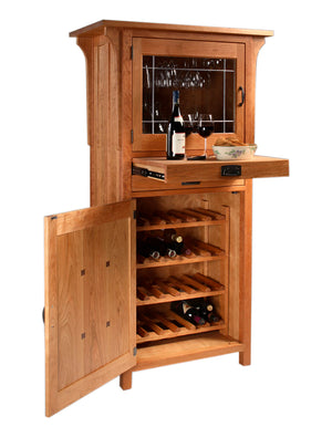 Craftsman Wine Cabinet in Natural Cherry custom made for Closet, Pantry, Cellar, Kitchen, Dining Room by Hardwood Artisans