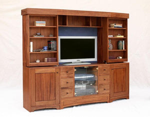Artisan Entertainment Library in Mahogany, customized entertainment center, displays flat-screen TV with Sliding bookcases