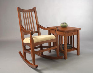 Highland Rocker in Mahogany with a Crofters End Table in 1/4-Sawn White Oak with an English Oak Stain