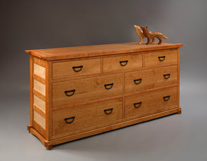 Custom bedroom furniture featuring Tansu Grand Mesa in Natural Cherry and Curly Maple dresser by Hardwood Artisans Montgomery