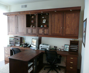 Office Built-Ins by Hardwood Artisans features built-in desks, cabinets and shelving for small spaces near Fairfax Station VA