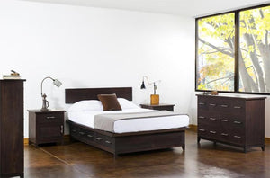 InTransit Nightstand Bed Table shown with entire bedroom suite designed for small spaces, made in USA by Hardwood Artisans