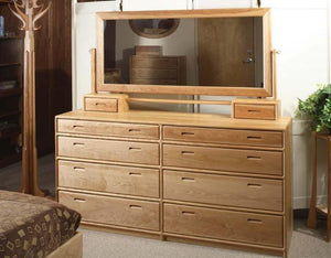 Contemporary 8-Drawer Dresser with Hall Tree in Natural Cherry displays a modern bedroom furniture style handcrafted in VA