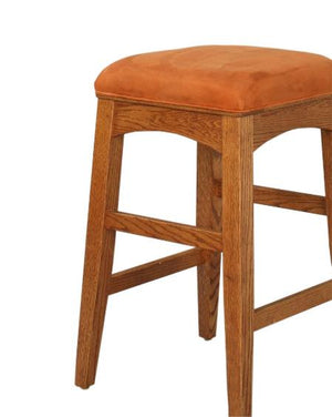 Artisan Stool in Red Oak shows a no-back version bar and counter-height natural solid hardwood Kitchen or Bar Chair or Stool