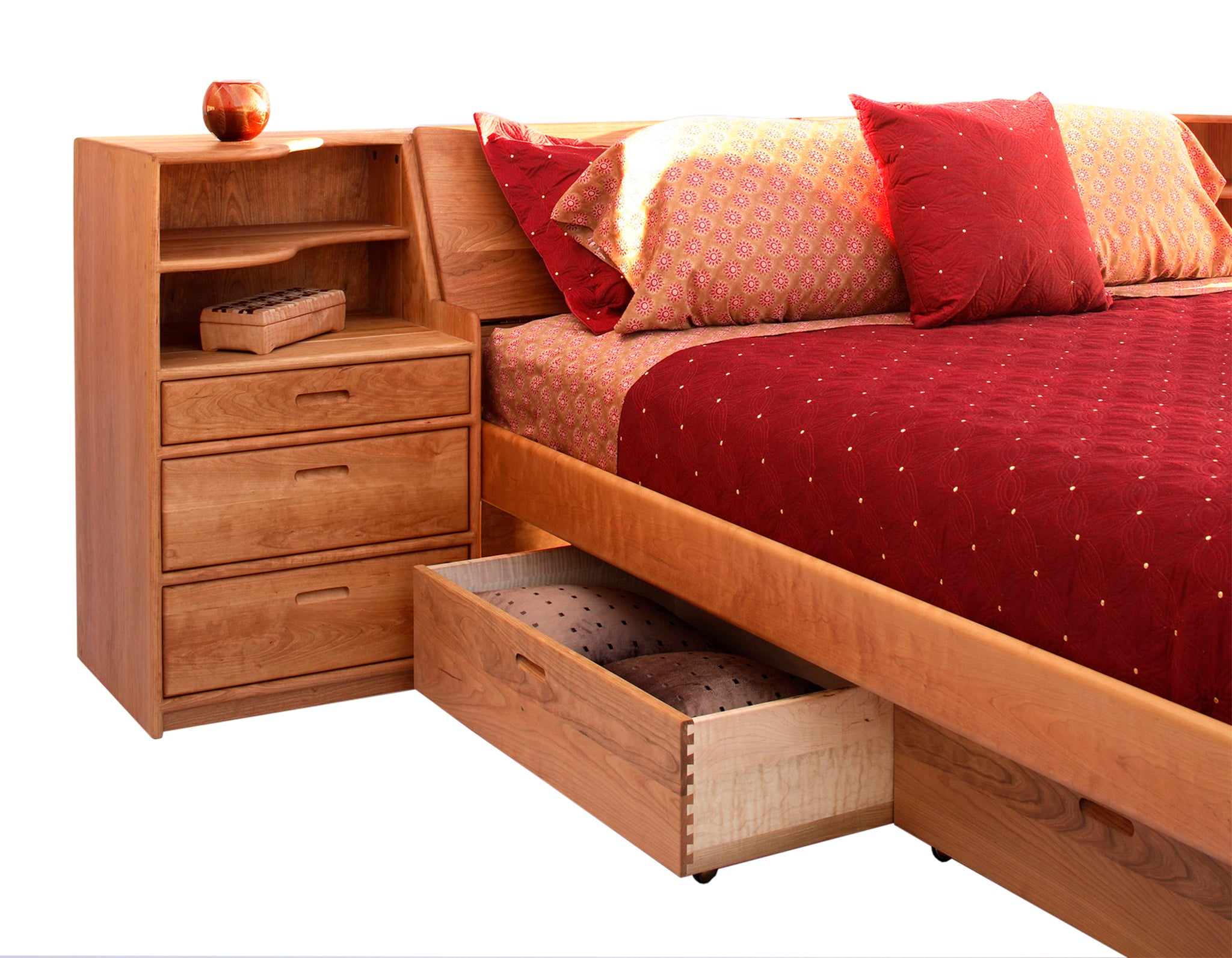 Platform pedestal bed with slope headboard and nightstands in cherry
