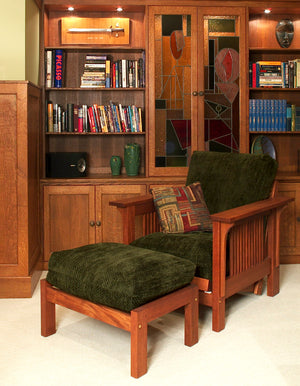 Woodley Chair & Loveseat with Crofters Arms shown in Mahogany by Hardwood Artisans a bespoke furniture maker in Virginia