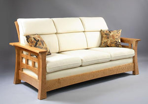 Mackintosh Tall-Back Sofa in Natural Cherry living room seating furniture Made in America by Hardwood Artisans in Virginia