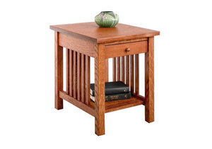 Crofters End Table w/ drawer in 1/4-Sawn White Oak Hardwood w/ English Oak Finish is Made in the United States near Derwood
