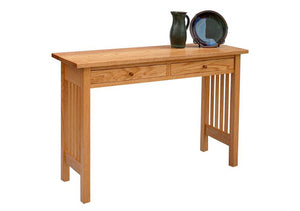 Crofters Hall Table w/ drawers in Red Oak for small entry/spaces, keys and mail drop, Quality Home Furniture in Culpeper, VA
