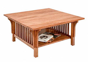 Crofters Square Coffee Table in Mahogany w/ lower shelf - Fine Living Room Furniture made using mortise & tenon construction