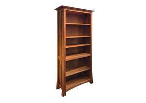 Glasgow Bookcase with elegant curved legs and classic Arts and Crafts panel is made to order by Hardwood Artisans in Virginia