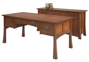 Glasgow Credenza shown behind Glasgow Desk in Cherry w/ Mahogany Wash for business / home office furniture made near Leesburg