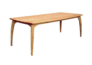 Linnaea 4-Leg Table featured in in Natural Cherry w/ curvy legs & large top perfect for large gatherings and dinner parties