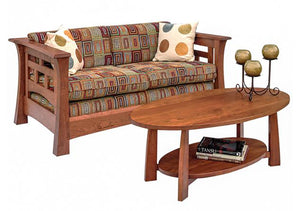 Mackintosh Loveseat with Bungalow Coffee Table in Cherry with Mahogany Wash, Hardwood Artisans