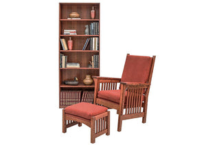 Parlor Chair and Footstool in 1/4-sawn White Oak w/ English Oak finish shown w/ Basic Bookcase in Walnut by Hardwood Artisans
