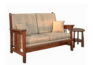 Parlor Loveseat in Cherry with Mahogany Wash and Bungalow End Table in Walnut, Hardwood Artisans