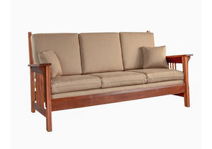 Parlor Sofa in Mahogany living room furniture handmade in America by Hardwood Artisans in VA, near Maryland and Washington DC