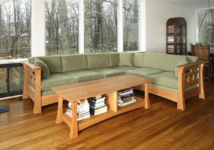 Mackintosh Sectional Sofa in Natural Cherry w/ Custom Coffee Table living room couch furniture made by Hardwood Artisans, VA