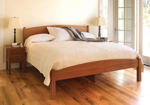 Shaker Bed with Craftsman Nightstands in 1/4 Sawn White Oak & English Oak Finish made by Hardwood Artisans in the DC area