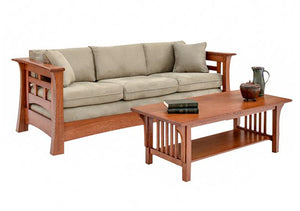 Mackintosh Sofa shown w/ Crofters Coffee Table in 1/4-Sawn White Oak w/ English Oak Stain furniture by Hardwood Artisans