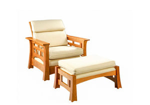 Mackintosh Tall-Back Chair and Ottoman in Natural Cherry, Hardwood Artisans