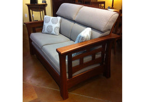 Mackintosh Tall-Back Loveseat in Mahogany features stylish solid wooden living room furniture by Hardwood Artisans near Burke