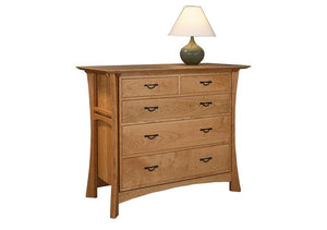 Waterfall 5-Drawer Low Chest in Natural Cherry displays Asian influenced Bedroom furniture dresser near Washington DC, VA, MD