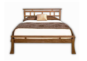 Waterfall Bed in Walnut shows solid wood bedroom furniture Made in the USA by Hardwood Artisans for Great Falls, Virginia