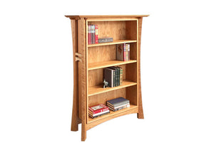 Waterfall Bookcase in Cherry pairs nicely in any home or living area and shows sustainable furniture by Hardwood Artisans VA
